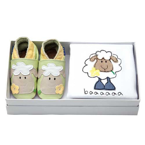 Baby Gift Set - Babygro & Shoes - Welsh Lamb
