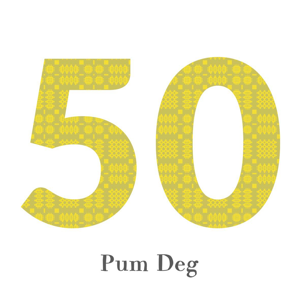 Card - Birthday / Anniversary - Pum Deg - 50-The Welsh Gift Shop