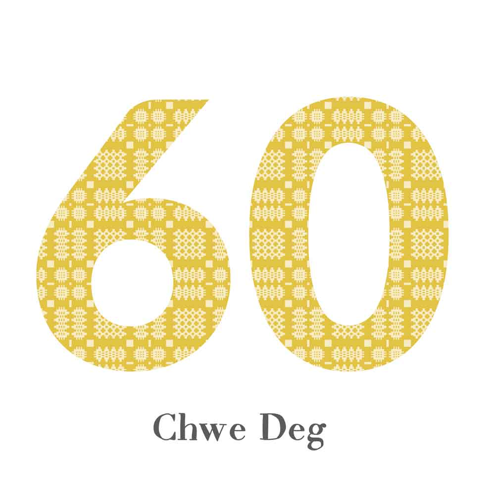 Card - Birthday / Anniversary - Chwe Deg - 60-The Welsh Gift Shop