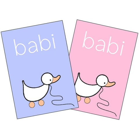 Card - New Baby / Babi - Blue or Pink