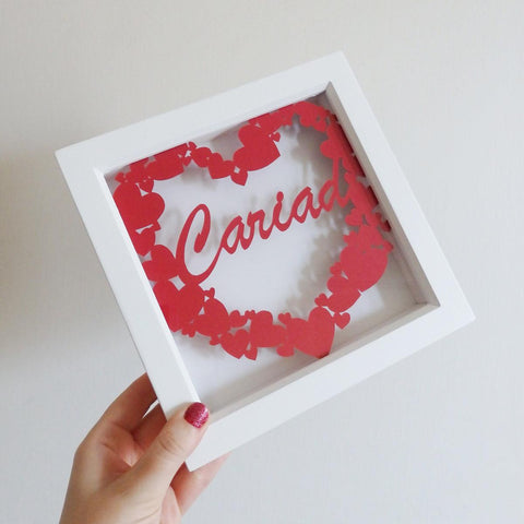 Framed Paper Cut - Cariad / Love-Picture / SIgn-The Welsh Gift Shop