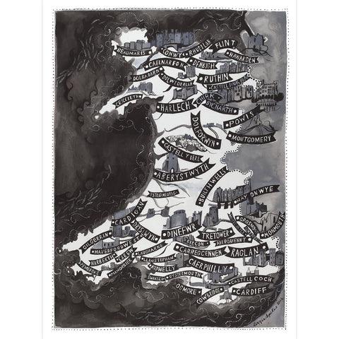 Poster / Print - Map - Castles of Wales - A3