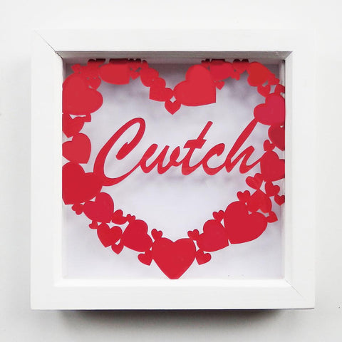 Framed Paper Cut - Cwtch / Cuddle-Picture / SIgn-The Welsh Gift Shop