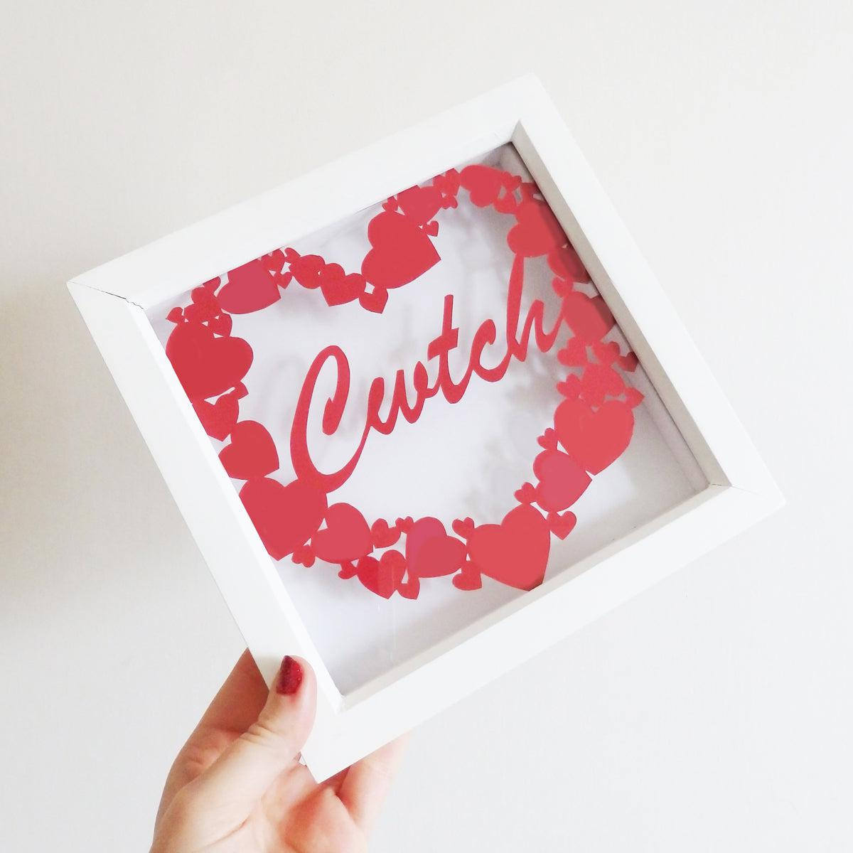 Framed Paper Cut - Cwtch / Cuddle