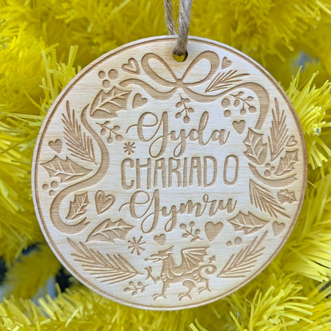 Decoration - Wooden - Gyda Chariad O Gymru / With Love from Wales