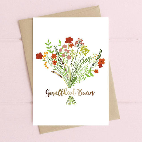 Card - Floral & Foiled - Gwellhad Buan - Speedy Recovery-The Welsh Gift Shop