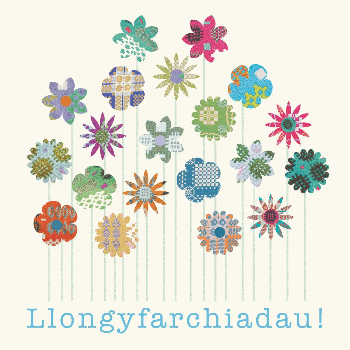 Card - Tapestry Flowers - Llongyfarchiadau / Congratulations-Card-The Welsh Gift Shop