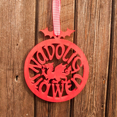 Decoration - Welsh Dragon - Nadolig Llawen / Merry Christmas