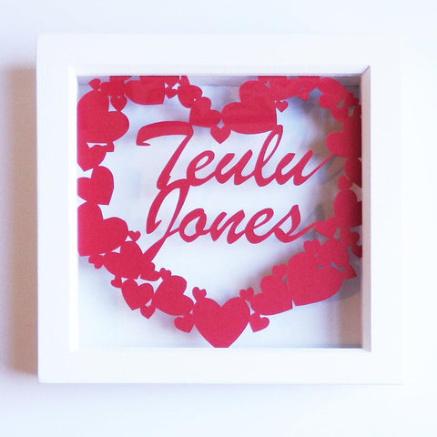Framed Paper Cut - Teulu / Family - Personalised-Picture / SIgn-The Welsh Gift Shop