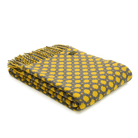 Throw / Blanket - New Wool - Welsh Crossroads - Slate Grey & Yellow