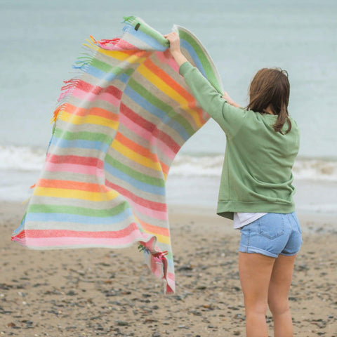 Throw / Blanket - New Wool - Rainbow Stripe