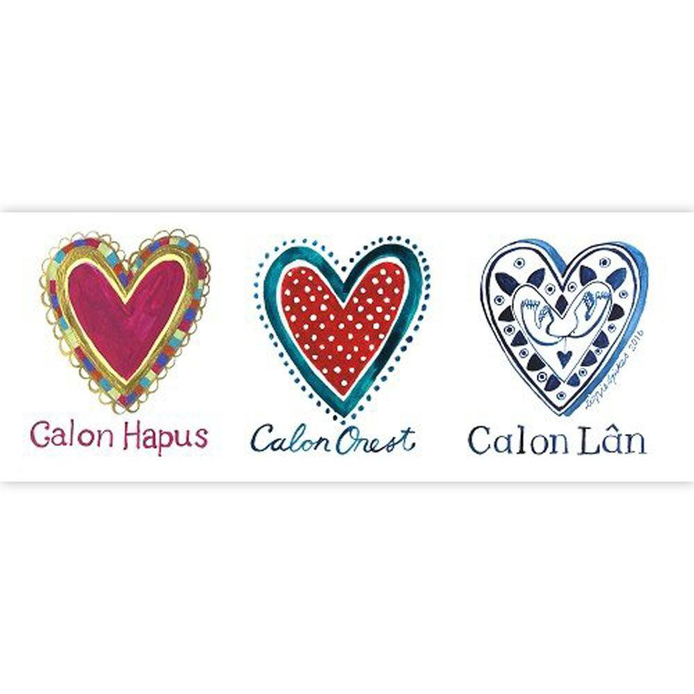 Card - Tri Galon - Calon Hapus, Calon Onest, Calon Lan-Card-The Welsh Gift Shop
