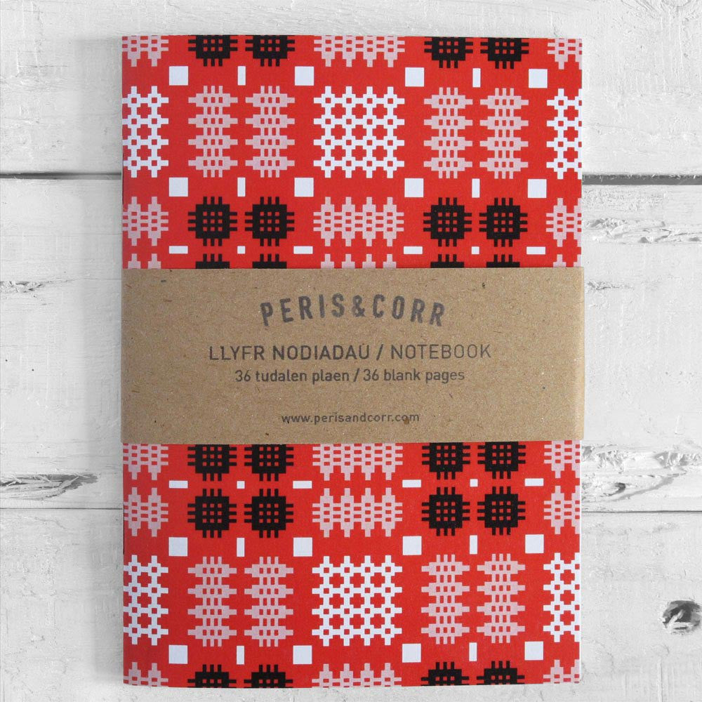 Pocket Notebook - Welsh Tapestry Blanket Design - Red