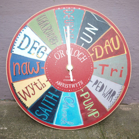 Clock - Welsh Numbers - Y Cloc Cymraeg-Clock-The Welsh Gift Shop