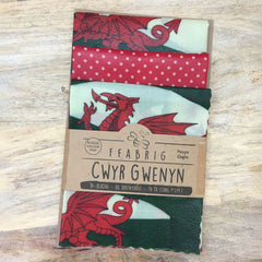 Beeswax Wraps - Kitchen Pack - Welsh Dragon Flag