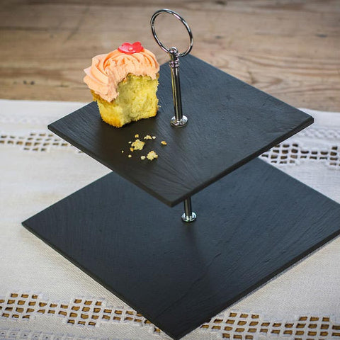 Cake Stand - Welsh Slate - 2 Tier