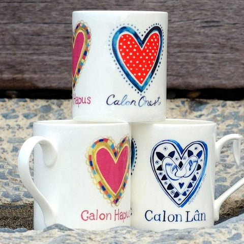Mug - Tri Galon - Calon Hapus, Calon Onest, Calon Lan-Mug-The Welsh Gift Shop