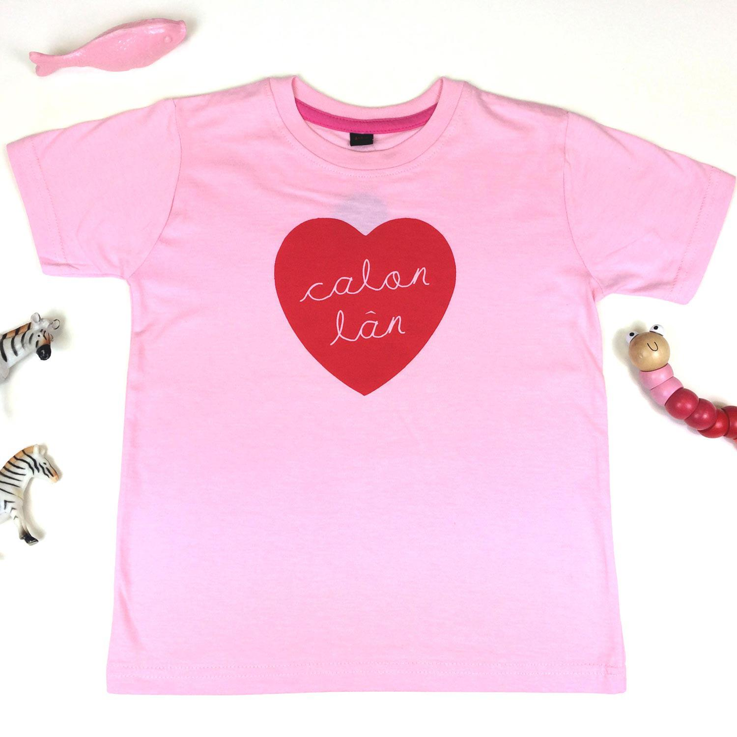 T-shirt - Toddler / Kids - Calon Lan - Pink-The Welsh Gift Shop
