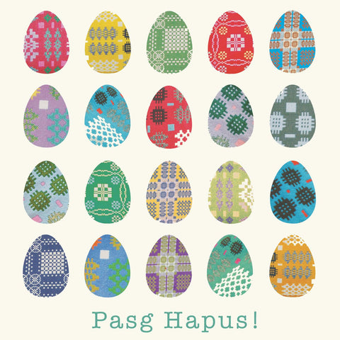 Card - Easter Eggs - Pasg Hapus / Happy Easter!-The Welsh Gift Shop