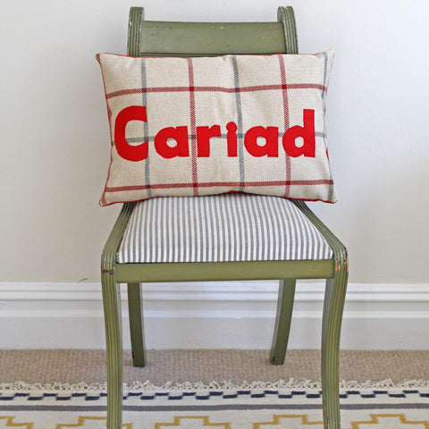 Cushion - Plaid - Cariad / Love-Cushion-The Welsh Gift Shop