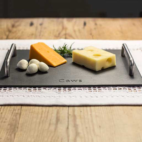 Cheese Board - Welsh Slate - Engraved - 'Caws'-Kitchen-The Welsh Gift Shop
