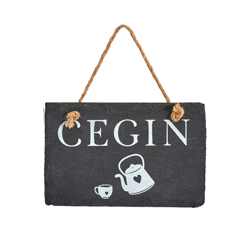 Slate Hanging Sign - Cegin - Kitchen-The Welsh Gift Shop
