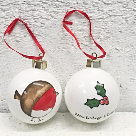 Christmas Bauble / Decoration - Cheeky Robin - Nadolig Llawen