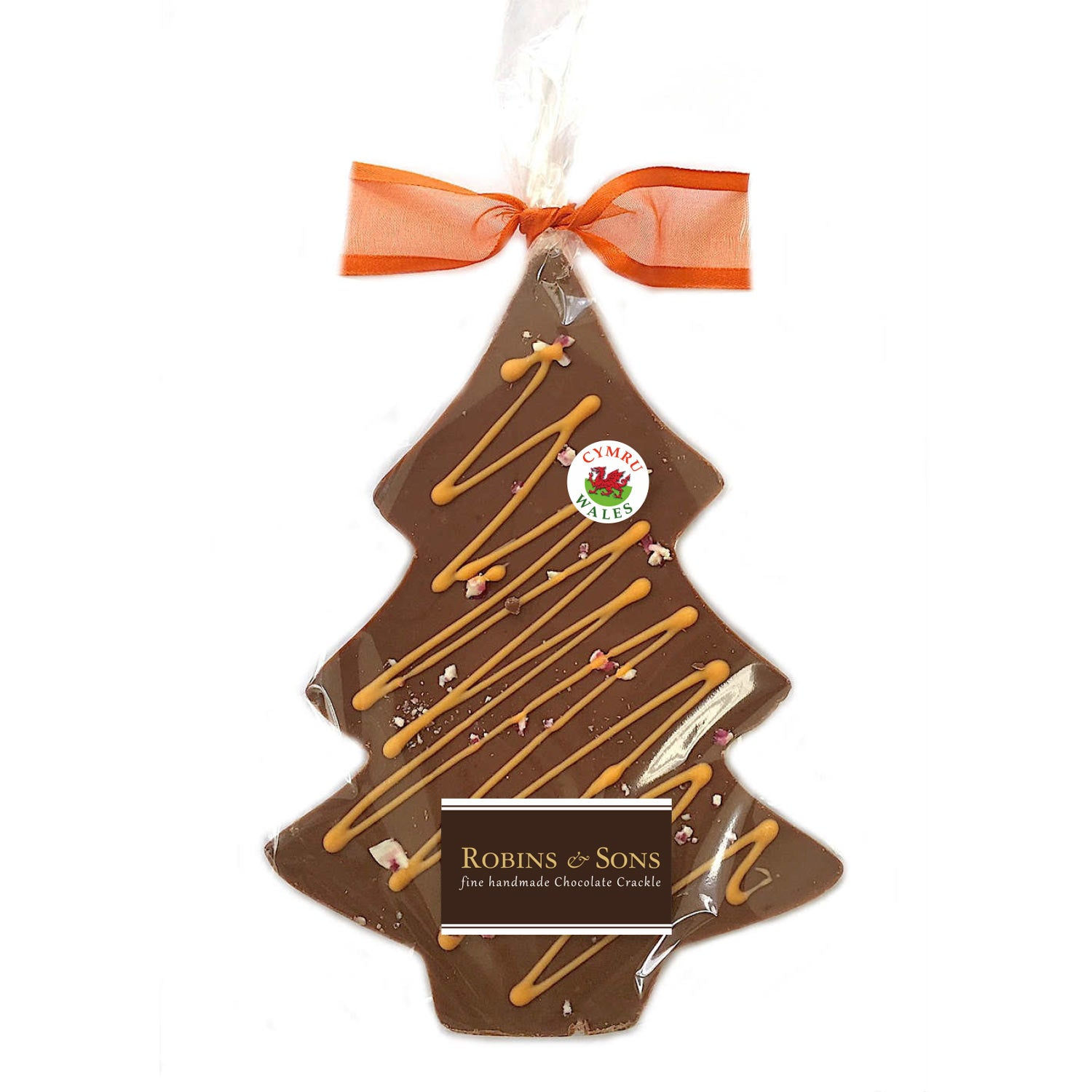 Chocolate Christmas Tree - Handmade in Wales - Orange Crackle - Milk