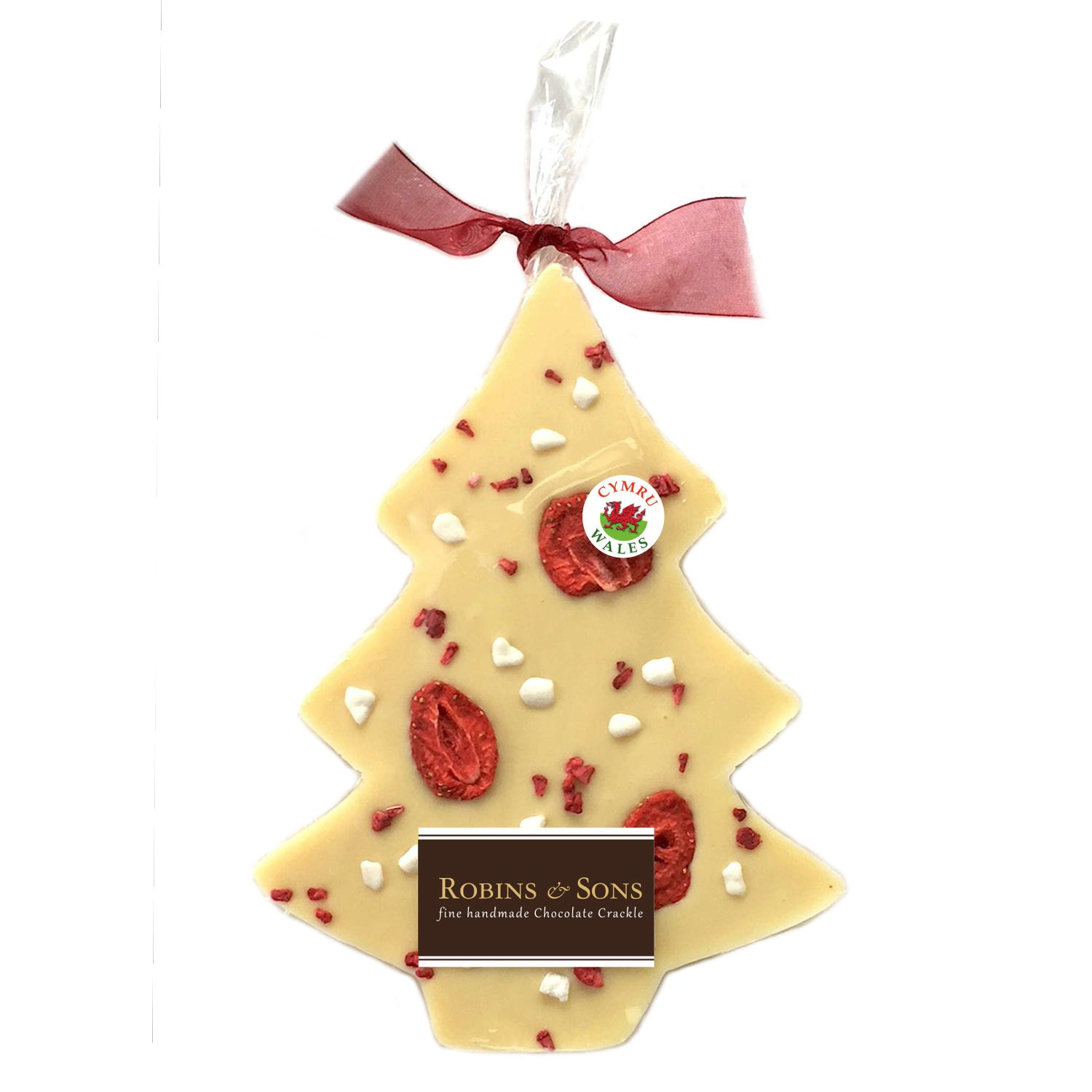 Chocolate Christmas Tree - Handmade in Wales - Very Berry White