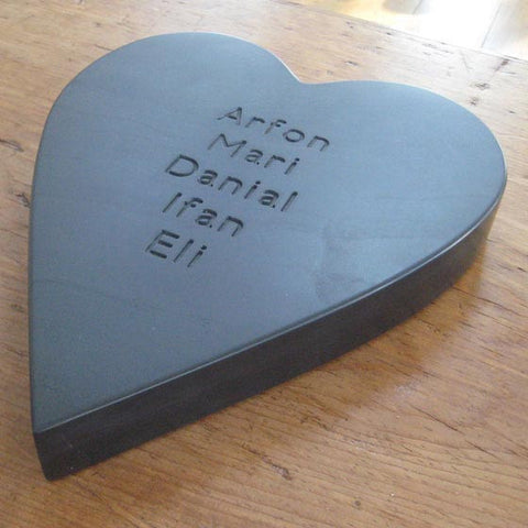 Chunky Heart - Welsh Slate - Personalised-Picture / SIgn-The Welsh Gift Shop