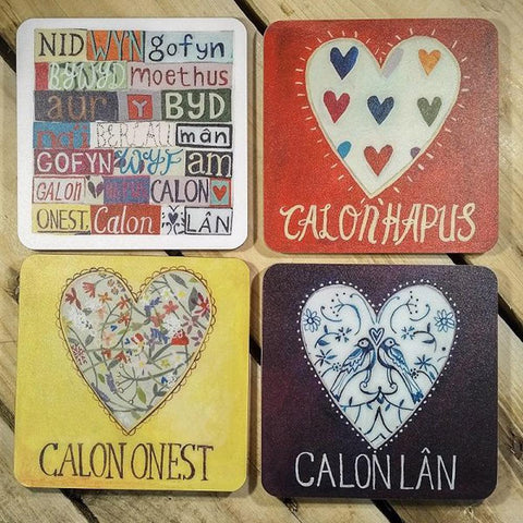 Coasters Set - Calon Hapus, Calon Onest, Calon Lan-The Welsh Gift Shop