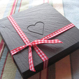 Heart Coasters - Welsh Slate - Set of four