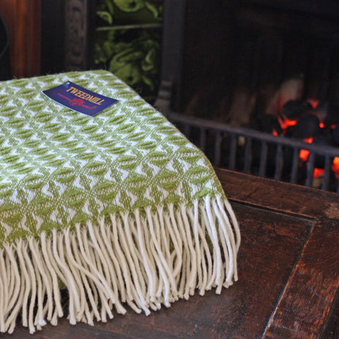 Throw / Blanket - New Wool - Welsh Cobweave - Green