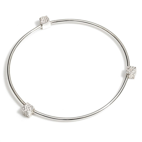 Bangle - Silver - Cofio Cube - Remember-Jewellery-The Welsh Gift Shop
