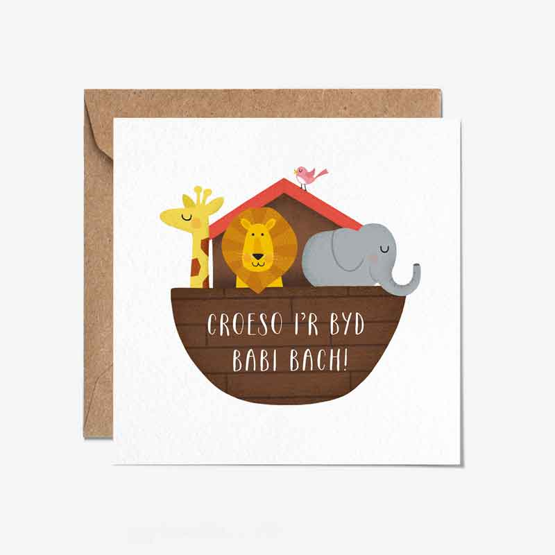 Card - New Baby - Croeso I'r Byd Babi Bach-The Welsh Gift Shop