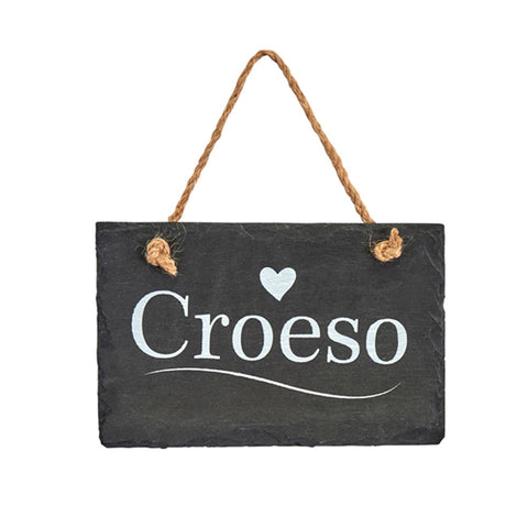 Slate Hanging Sign - Croeso - Welcome-The Welsh Gift Shop