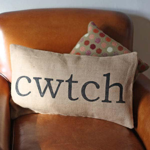 Cushion Cover - Burlap - Cwtch / Cwtsh-Pillow-The Welsh Gift Shop