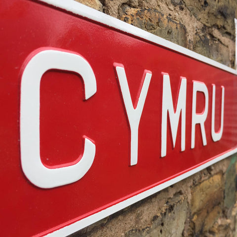 Sign / Plate - Pressed Vintage - Cymru / Wales-The Welsh Gift Shop