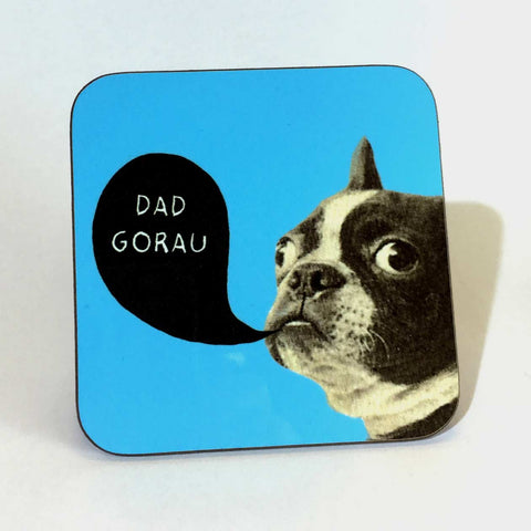 Coaster - Best Dad - Dad Gorau - Dog-The Welsh Gift Shop