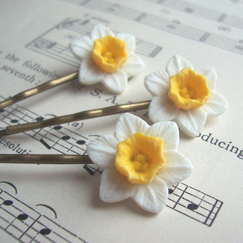 Hair Pins - Handmade - Daffodils-Jewellery-The Welsh Gift Shop