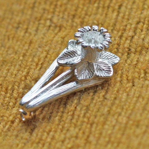 Pin / Brooch - Silver - Welsh Daffodil
