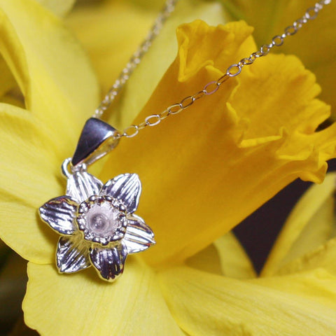 Pendant / Charm - Welsh Daffodil - Sterling Silver-Jewellery-The Welsh Gift Shop