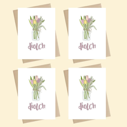 Mini Cards - Pack of 4 - Blodau / Flowers- Diolch / Thank you