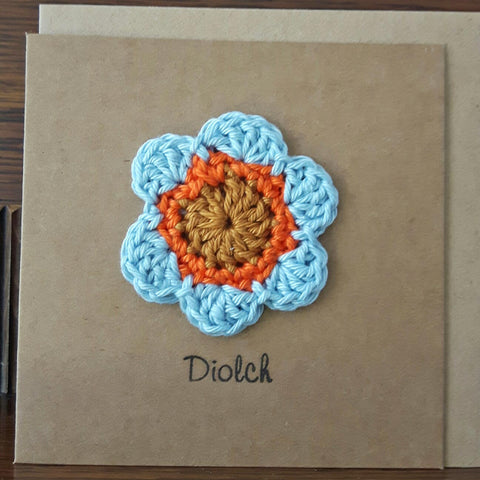 Card - Handmade Crochet - Diolch - Thank You-The Welsh Gift Shop