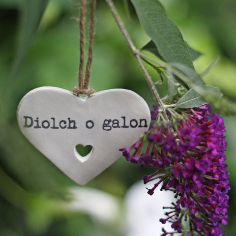 Heart Decoration - Diolch o Galon / Heartfelt Thanks