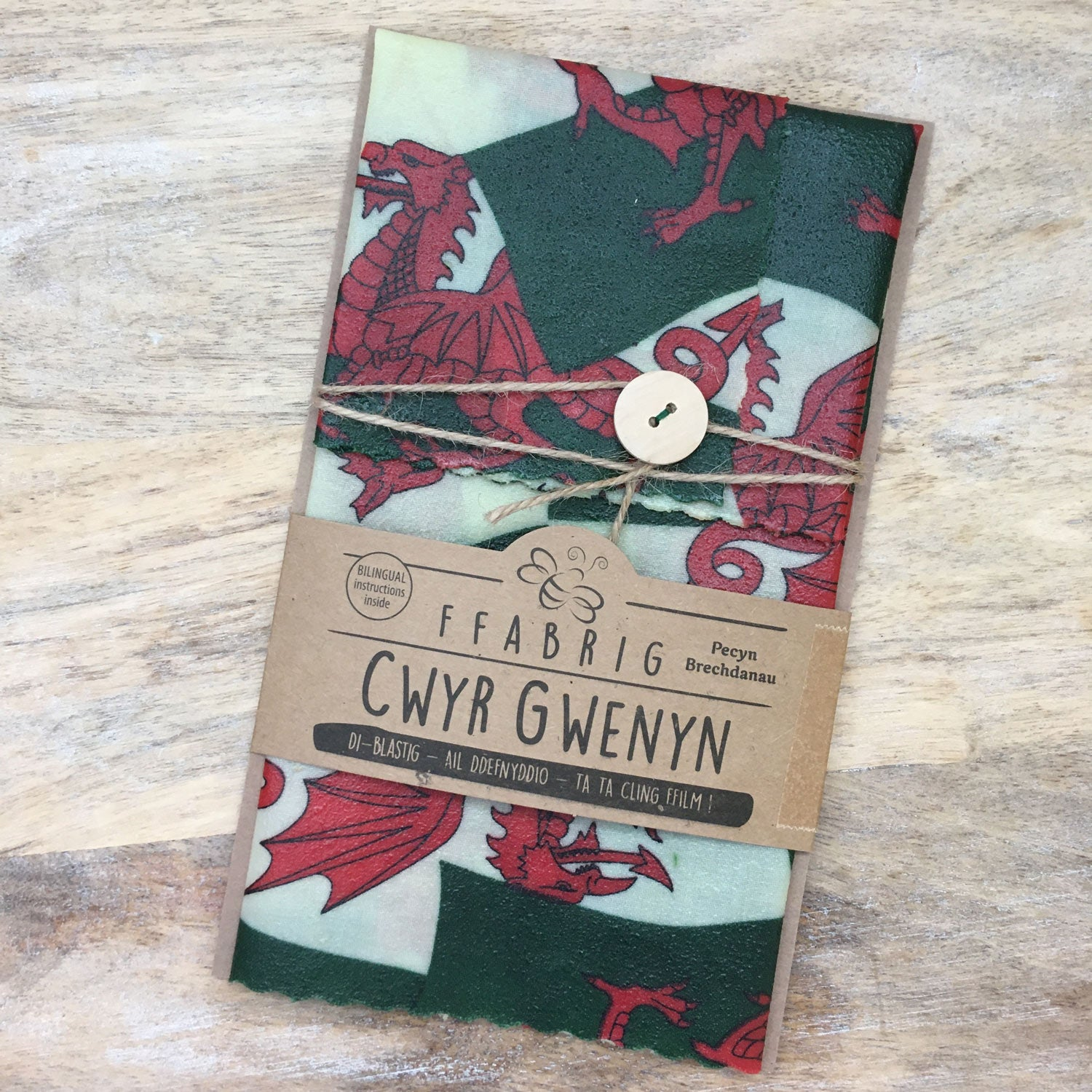 Beeswax Wrap - Sandwich Wrap - Welsh Dragon Flag