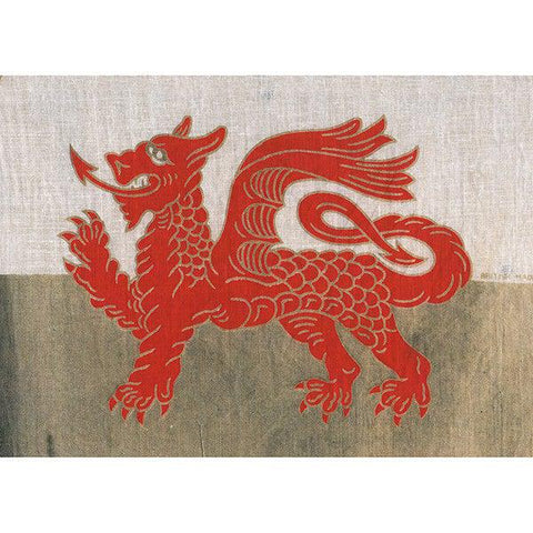 Card - Vintage Welsh Flag - Dragon-Card-The Welsh Gift Shop