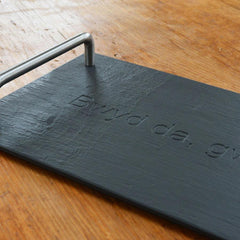 Serving Tray - Welsh Slate - Bwyd da, Gwin da, Cwmni Da-Picture / SIgn-The Welsh Gift Shop