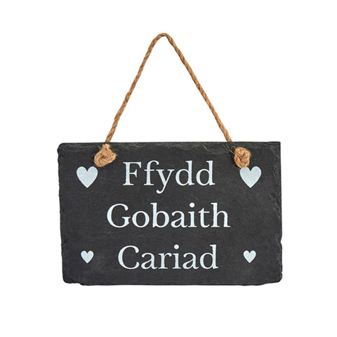 Slate Hanging Sign - Ffydd, Gobaith, Cariad - Faith, Hope, Love-The Welsh Gift Shop