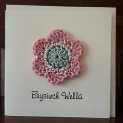 Card - Handmade Crochet - Brysiwch Wella - Get Well Soon-The Welsh Gift Shop